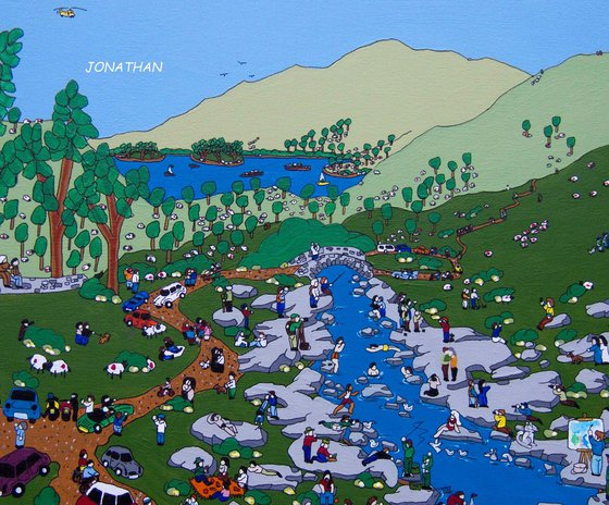 Original naive country style acrylic on Italian paper Ashness bridge Derwent water Keswick Cumbria England