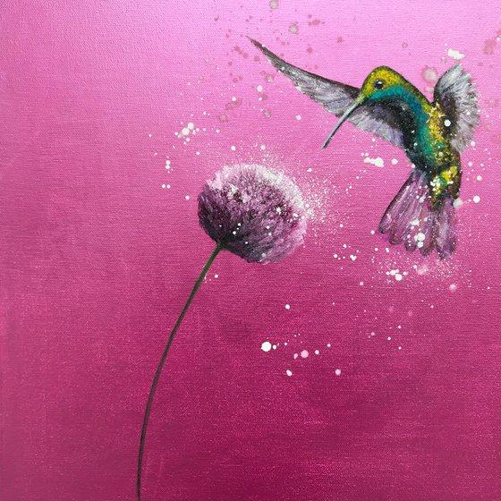 Free As A Bird ~ Hummingbird on Metallic Pink