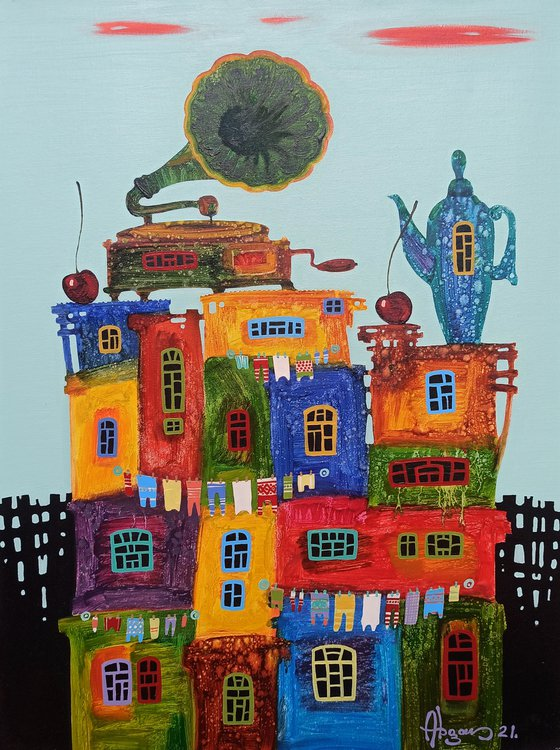 Childhood dreams-26 (50x70cm, oil painting, modern art, ready to hang)