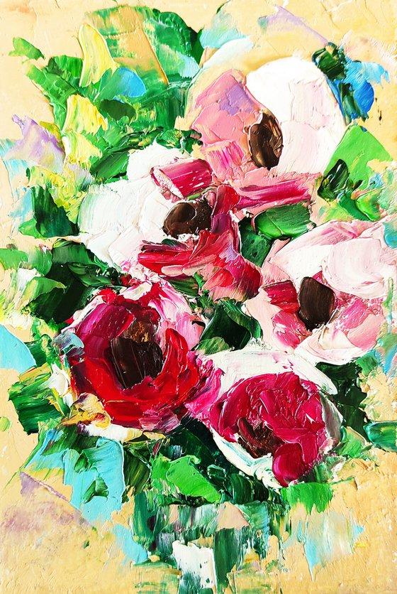 Peony Painting Bouquet Original Art Peonies Artwork Pink Floral Wall Art Flower Art