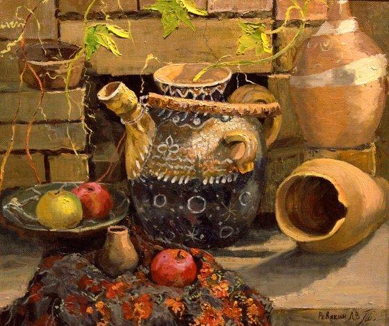 Ceramic jug. Original signed still life