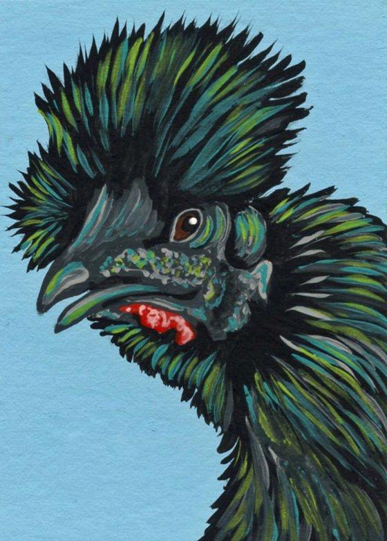 ACEO ATC Original Miniature Painting Showgirl Silkie Chicken Pet Bird Art-Carla Smale