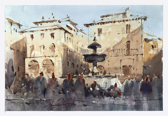 Watercolor painting of Assisi, Original aquarelle artwork