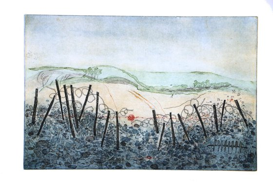 """Heike Roesel """"The Island"""", fine art etching, edition of 20 in variation"""