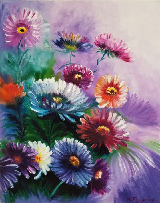 Autumn Chrysanthemums. Original Oil Painting on Canvas. Gift for Mom. Wall Art. Home Decor. Gift for her. Wall Decor. Room accent. Elegant art.t