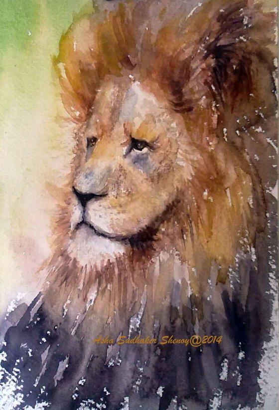 """Lion - Watercolor portrait of  The Lion King 7""""x 11"""""""