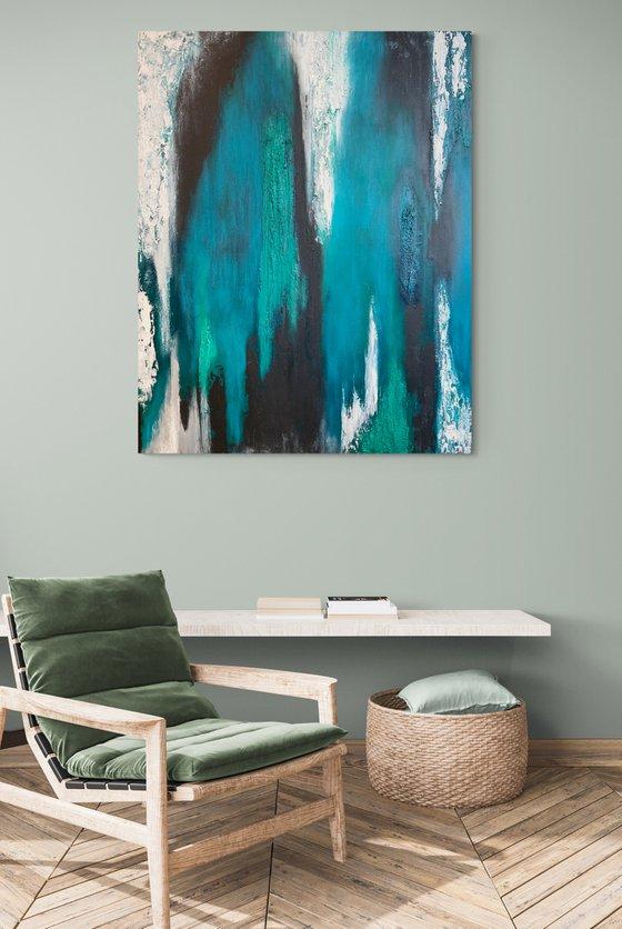Ebony Falls - Rectangular - Abstract - Canvas - Ready to Hang up