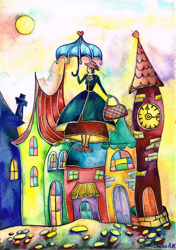 MARY POPPINS  ORIGINAL PAINTING, FANTASY, GIFT IDEA. COLOURFUL HOUSES, LONDON, COLOURFUL LONDON, LANDSCAPE, ABOVE THE CITY, 3