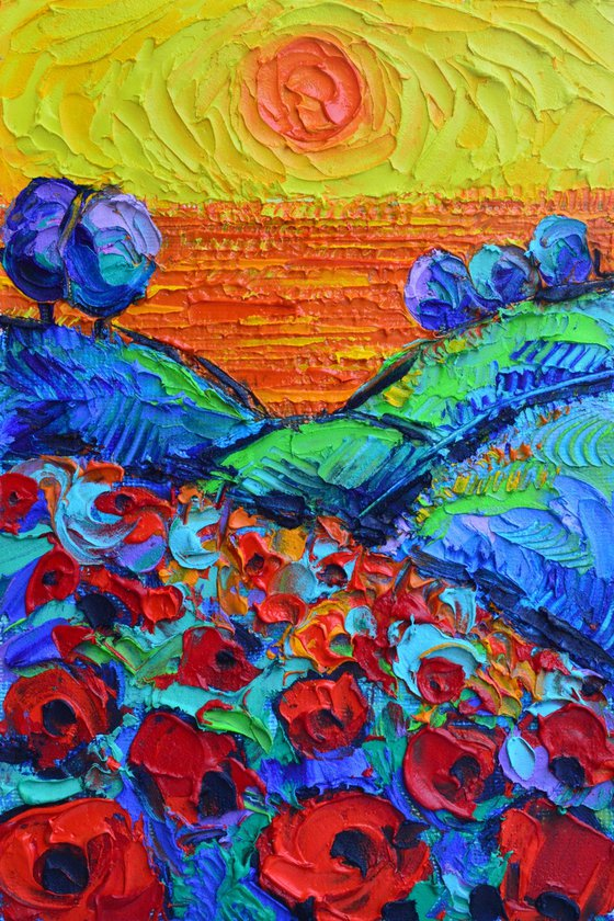POPPIES HILLS BY THE SEA AT SUNSET abstract landscape textural impressionist impasto palette knife oil painting by Ana Maria Edulescu