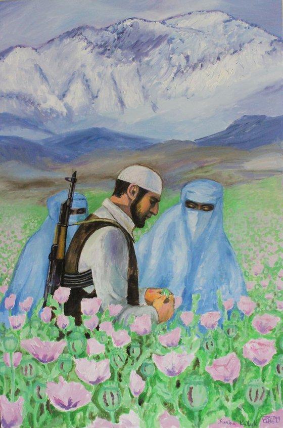 Mujahideen on the poppy field