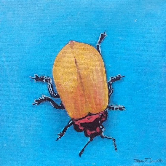 Royal Gold - Beetle oil painting, insect painting