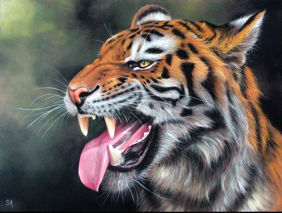 Tiger Snarling Original Big cat Painting)