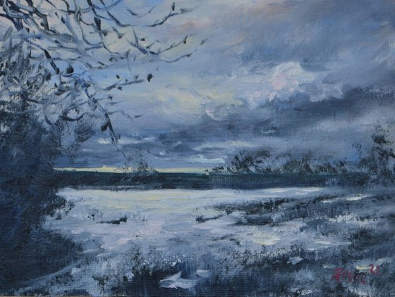 'A Winter's Day' - oil miniature