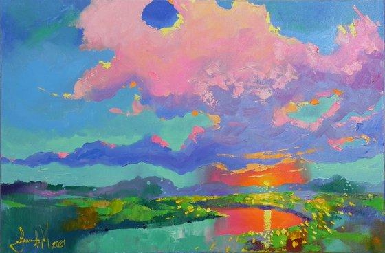 """Sky colors"" - 2021 Original Abstract Landscape Bright Home Decor"