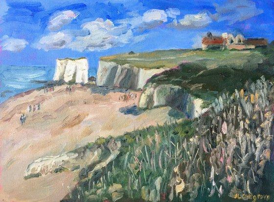 Chalk stacks at Botany Bay - an original oil painting