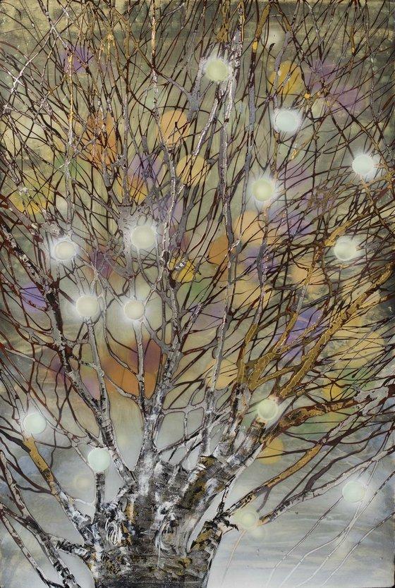 Original Painting - Resin art on large canvas - wall art - Tree Of Lights