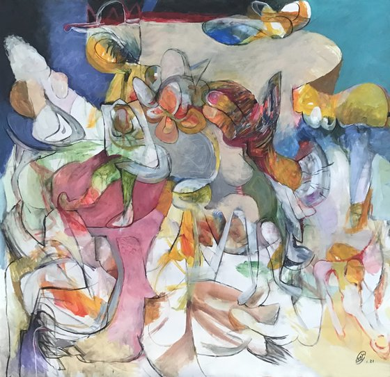 Carnival on cliff edge. Abstract landscape N10