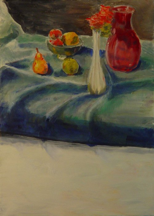 Fruit and Vases on Blue Cloth