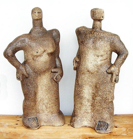 Mythological Giants, Fafner and Fasolt, Legendary Builders of Valhalla - Ceramic Sculpture
