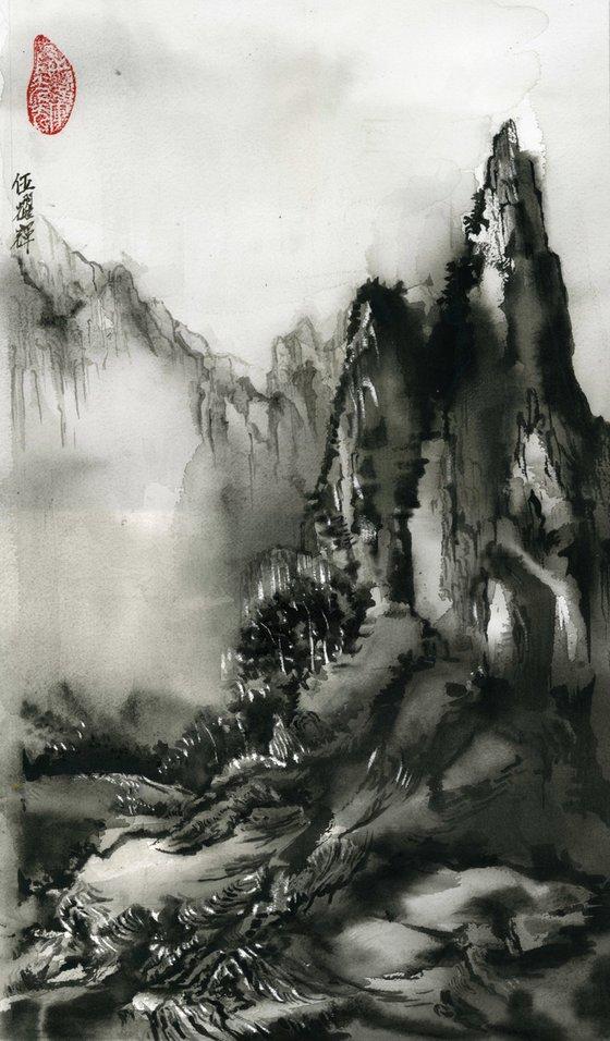 Chinese mounatins watercolor landscape