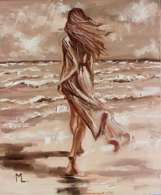 """ MOMENTS  ... "" SEA original painting palette knife GIFT MODERN URBAN ART OFFICE ART DECOR HOME DECOR GIFT IDEA"