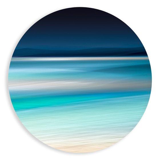 Tidal Blues - Round Art Glass Framed
