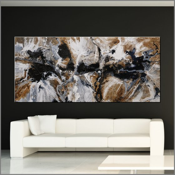 Peppered Raw 270cm x 120cm Oxide Black White Abstract Art