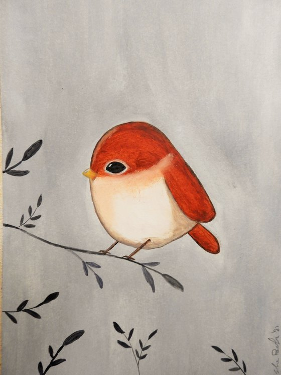The small bird in red - oil on paper