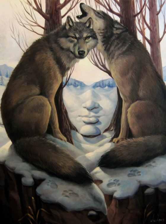 She - Wolf 60x80cm, oil painting, surrealistic artwork