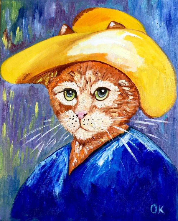 7187b299 Cat La Van Gogh in a straw hat modern oil painting feline art Van Gogh  influence art for animal lovers (2019)