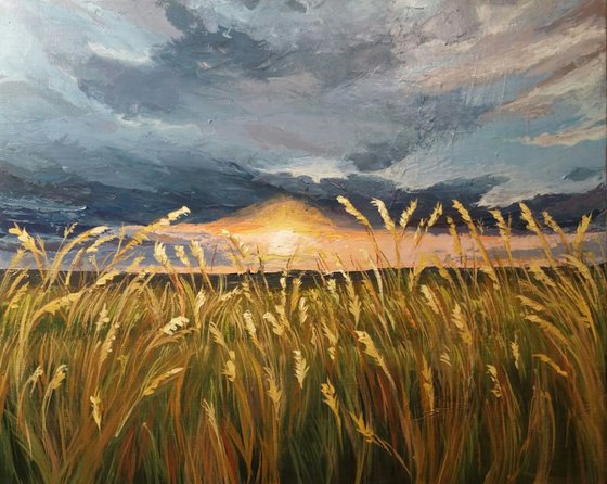 """The sound of crickets"", 50x40cm,  (19.7''x15.7'') acrylic on canvas"