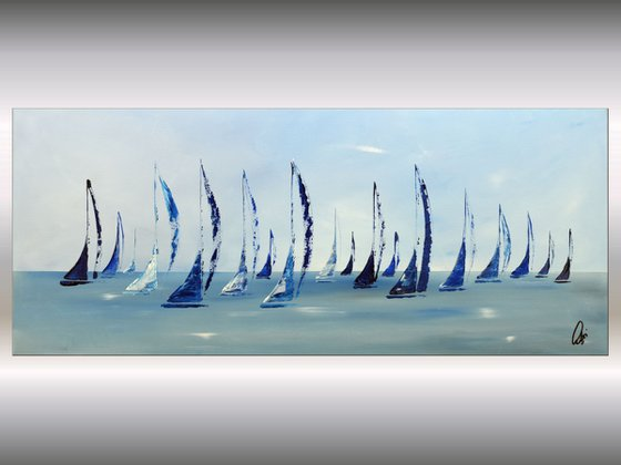 Around the World 2 - acrylic abstract painting sailboat painting, stretched canvas wall art