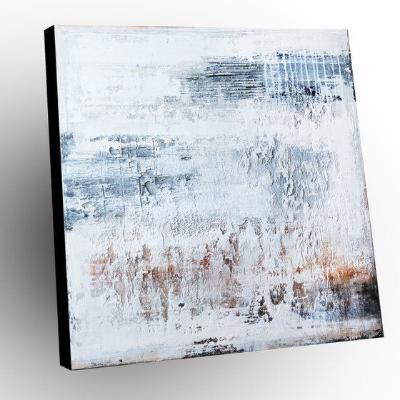COLD DAY - ABSTRACT ACRYLIC PAINTING TEXTURED * PASTEL COLORS * RUST * READY TO HANG