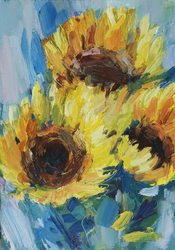 Oil painting Flowers Yellow Sunflowers