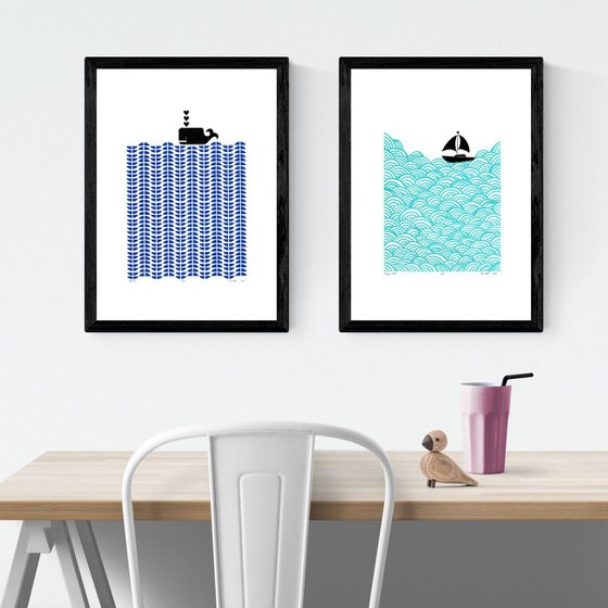 2 x A3 size FRAMED print bundle - save 15% for UK Delivery only