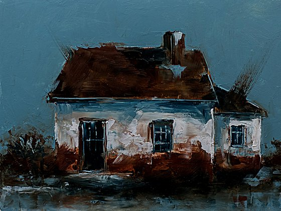 Old house. Small original oil painting for gift