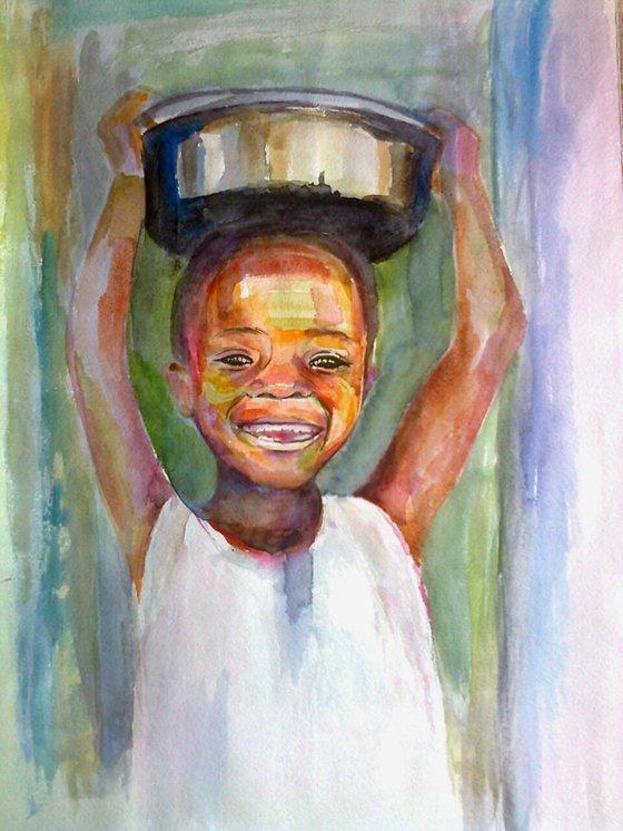Child portrait (40x50x0.2 watercolor, paper)