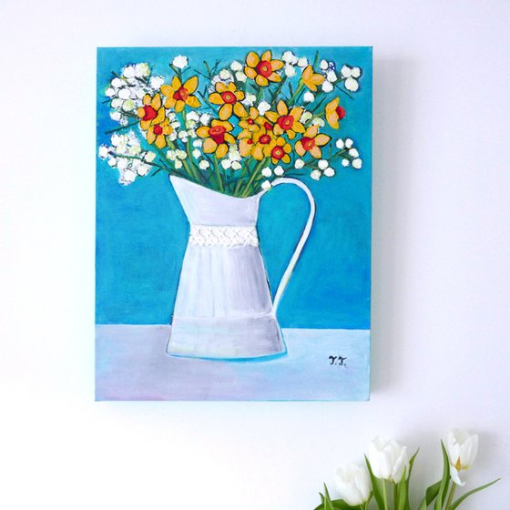 Spring Flowers in a Vintage Vase