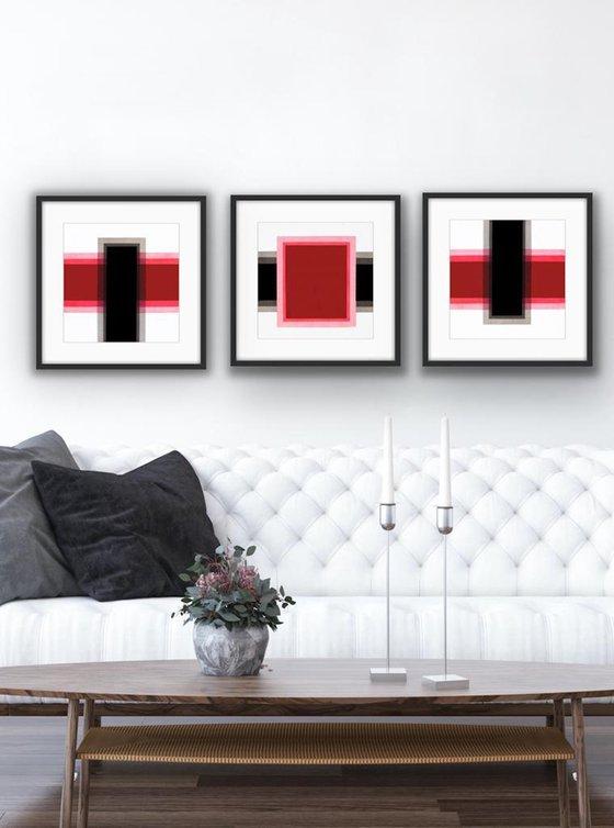 Triptych Geometric Red