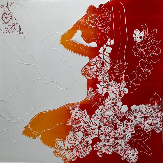 Homage to Hockneys' Hawthorn - Red