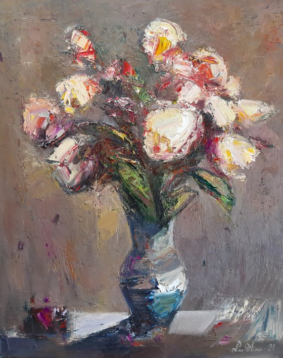 Abstract flowers in vase-2 (50x60cm, oil painting, palette knife)