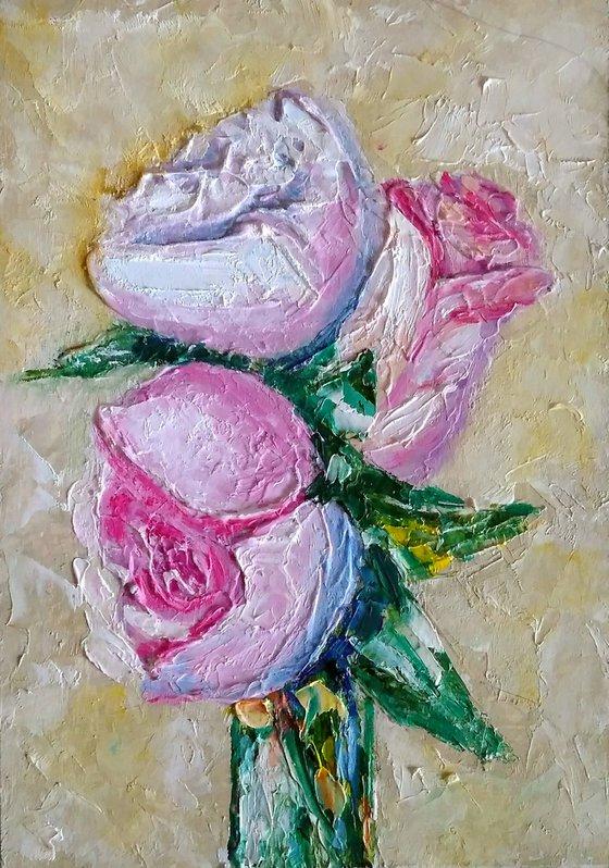 Roses Bouquet Painting Original Art Floral Artwork Flower Still Life Wall Art Impasto Small Oil Panting