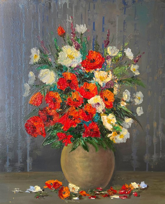 """Oil painting on canvas - Flowers by Martiros Martirosyan - Original One-of-a-Kind Fine Art -  19.7"""" x 23.6"""" (50x60 cm)"""