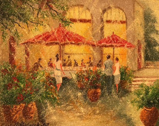 Small Cafe (40x50cm, oil painting, impressionistic)
