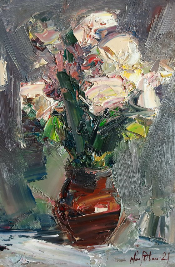 Abstract flowers in vase(30x20cm, oil painting, palette knife)