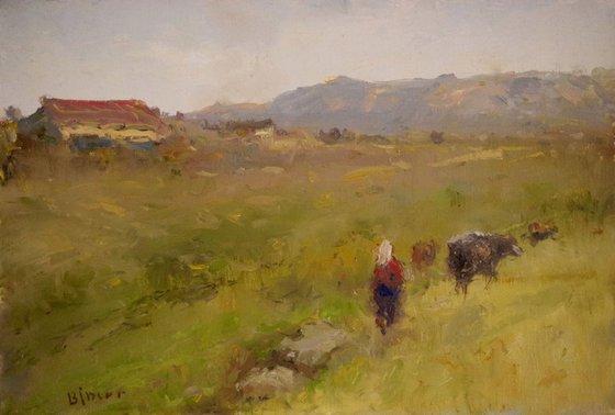 Back to Home, Landscape, Original oil Painting, Impressionism, Signed, One of a Kind