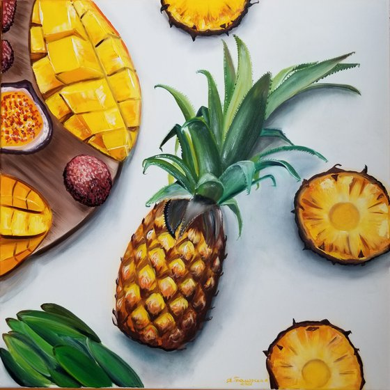 Tropical Fruit Breakfast. Original Oil Painting on Canvas. Tropical Still life. Tropical Fruit Room accent. Summer painting.