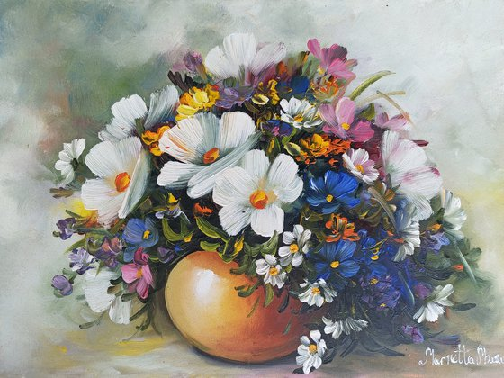 Field flowers (40x30cm, oil painting, ready to hang)