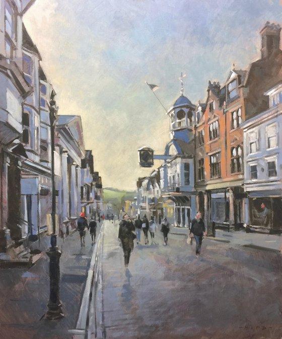 Guildford High Street, evening light