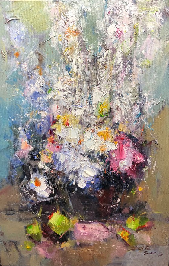 """""""Flowers"""" size 62x92cm;  canvas, oil.  Free shipping"""